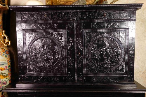 Ebony cabinet with scenes of the Holy Family -