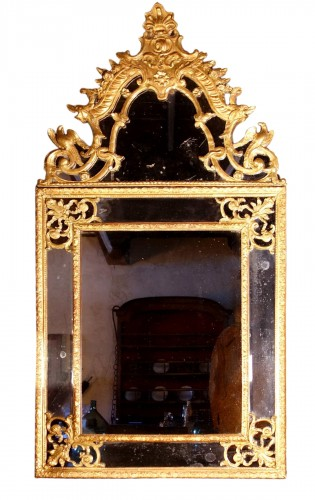 Large Regency mirror with glazing beads with birds