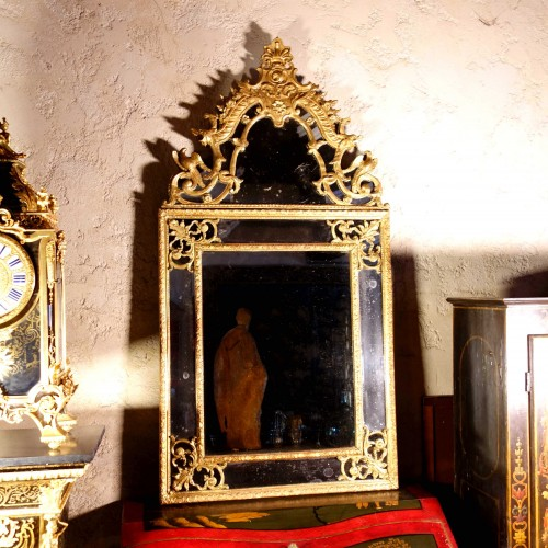 18th century -  Large Regency mirror with glazing beads with birds