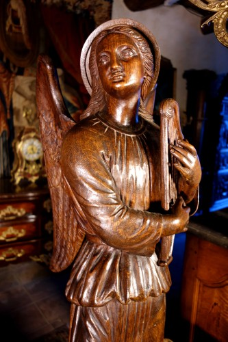 Sculpture  - Large couple of angels in carved wood