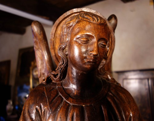 18th century - Large couple of angels in carved wood
