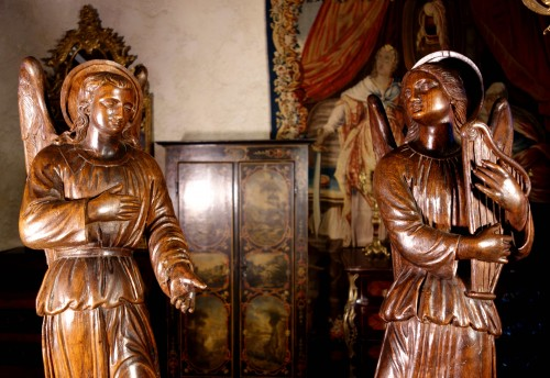 Louis XV - Large couple of angels in carved wood