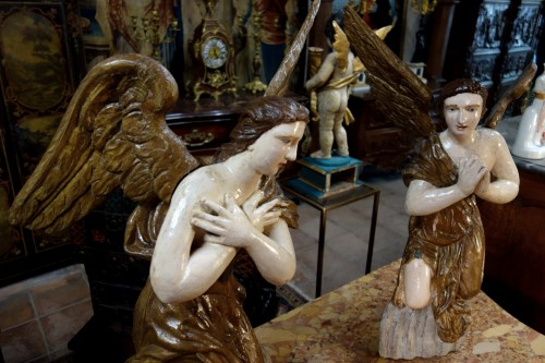 Sculpture  - Pair of polychrome wooden angels