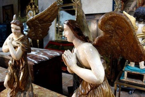 Pair of polychrome wooden angels -