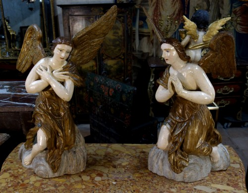 - Pair of polychrome wooden angels