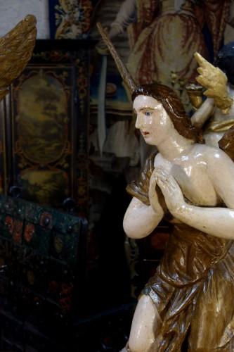 Antiquités - Pair of polychrome wooden angels
