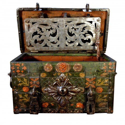 Nuremberg chest signed and polychromed