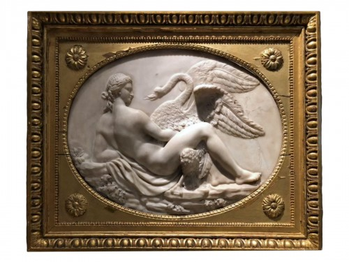 Leda and the swan, marble relief - France 18th century