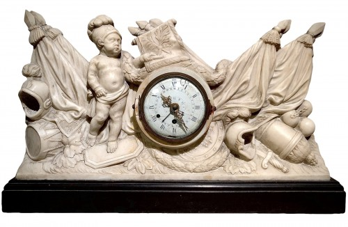 Marble clock with military attributes, 18th century