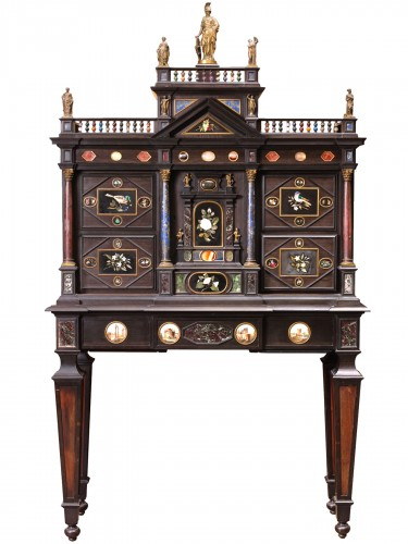 Florentine cabinet in ebony, hard stones and micro-mosaics