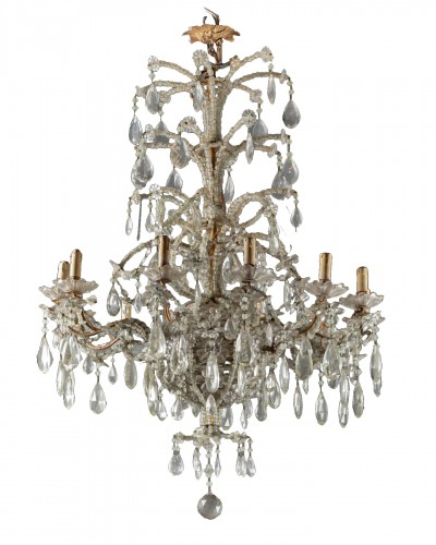 Genoese chandelier in cut crystal and blown glass late 19th century