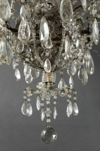 Genoese chandelier in cut crystal and blown glass late 19th century - Lighting Style