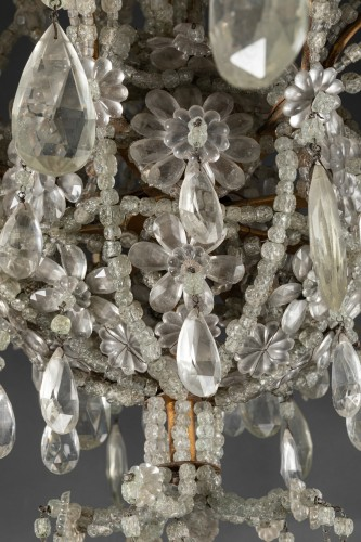 Lighting  - Genoese chandelier in cut crystal and blown glass late 19th century