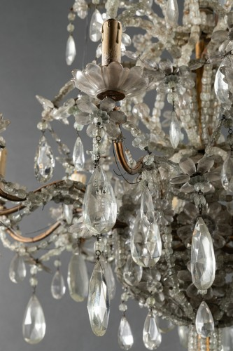 Genoese chandelier in cut crystal and blown glass late 19th century -