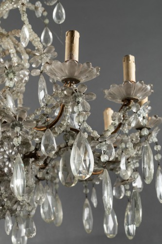 19th century - Genoese chandelier in cut crystal and blown glass late 19th century