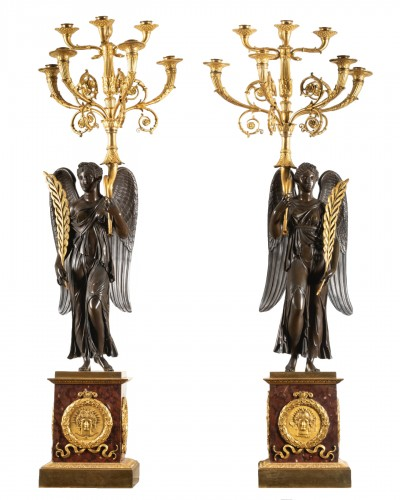 Important pair of Empire period candelabras attributed to Thomire