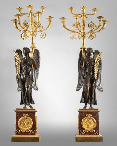 Antiquités - Important pair of Empire period candelabras attributed to Thomire