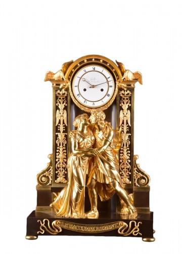 """""""Le Réconciliation"""", A large romantic Empire ormolu clock"""