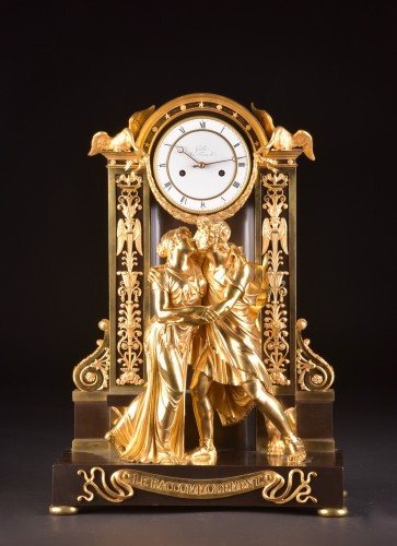 """Le Réconciliation"", A large romantic Empire ormolu clock - Horology Style Empire"