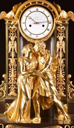 """Horology  - """"Le Réconciliation"""", A large romantic Empire ormolu clock"""