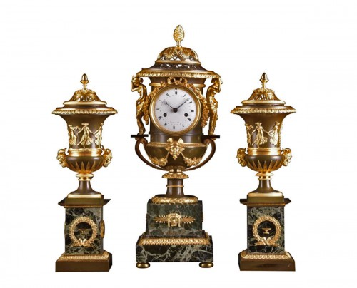 Large French Ormolu and Marble Urn Mantel Clock by Thomire, circa 1800