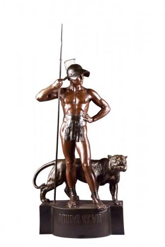 """Jean Lavergne (1863-1928). - """"Animus et VIs""""  A Monumental Bronze Figure"""