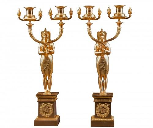 A pair of French gilt bronze candelabra, circa 1850