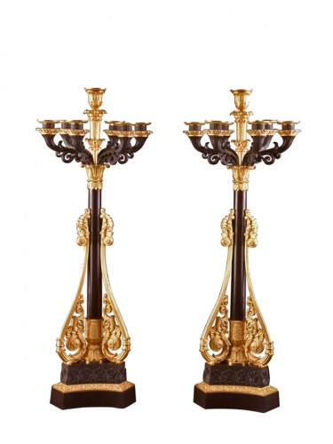 A pair of large late Empire candelabra