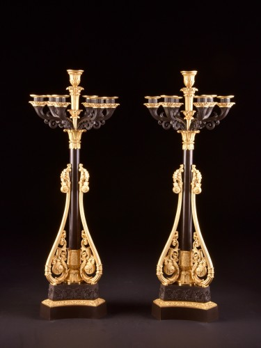 A pair of large late Empire candelabra -