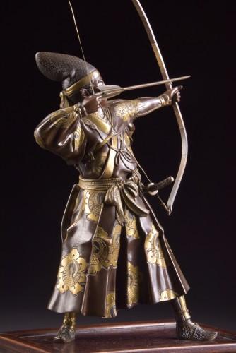 Sculpture  - Fine quality large Meiji period Japanse bronze Samurai with Katana,