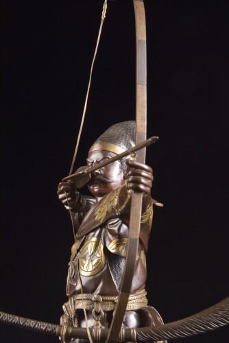 19th century - Fine quality large Meiji period Japanse bronze Samurai with Katana,