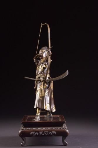 Fine quality large Meiji period Japanse bronze Samurai with Katana, -
