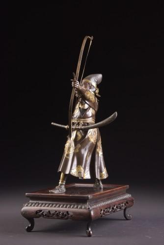 Antiquités - Fine quality large Meiji period Japanse bronze Samurai with Katana,