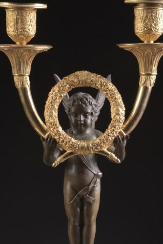 Lighting  - Pair French Empire ormolu and bronze candelabra