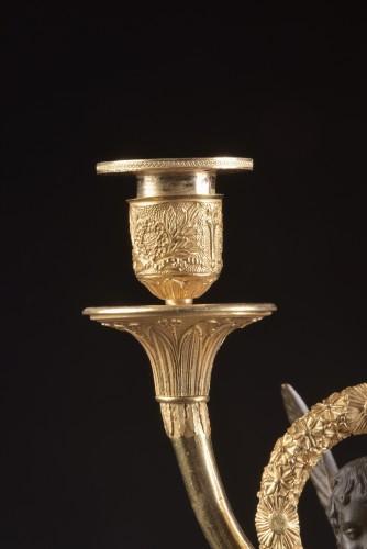 Pair French Empire ormolu and bronze candelabra -