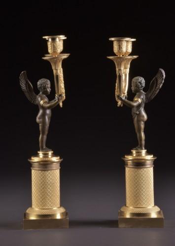 19th century - Pair French Empire ormolu and bronze candelabra