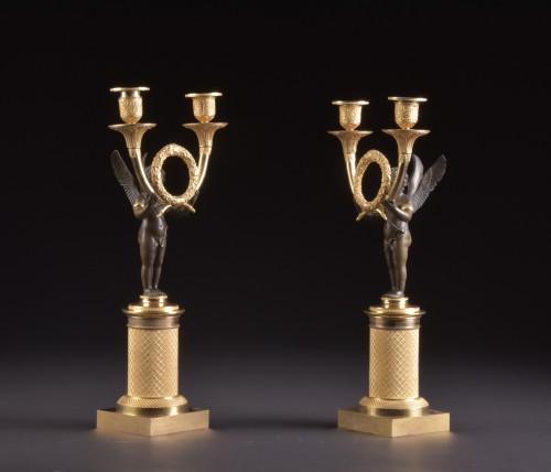 Empire - Pair French Empire ormolu and bronze candelabra
