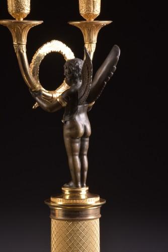 Antiquités - Pair French Empire ormolu and bronze candelabra