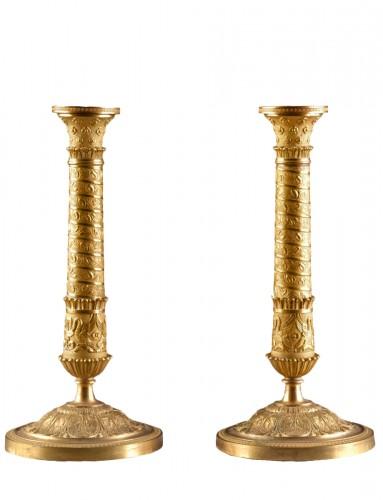 Restauration Bronze Candlesticks in Trajan's Column Style