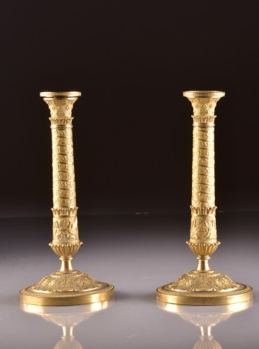 Restauration Bronze Candlesticks in Trajan's Column Style - Lighting Style Restauration - Charles X