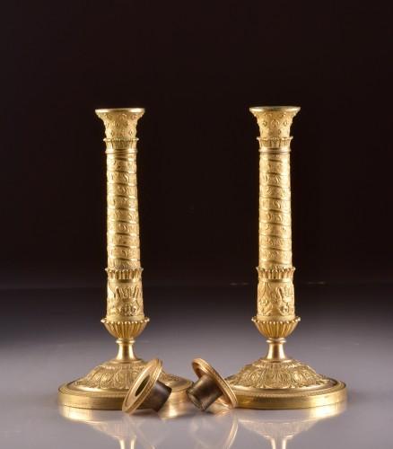 Restauration - Charles X - Restauration Bronze Candlesticks in Trajan's Column Style