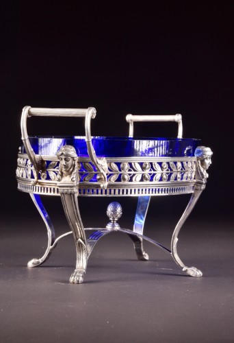 Late19th century 800 Silver Jardiniere, with blue crystal, Germany, stamped -