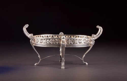 19th century - Late19th century 800 Silver Jardiniere, with blue crystal, Germany, stamped