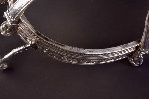 - Late19th century 800 Silver Jardiniere, with blue crystal, Germany, stamped