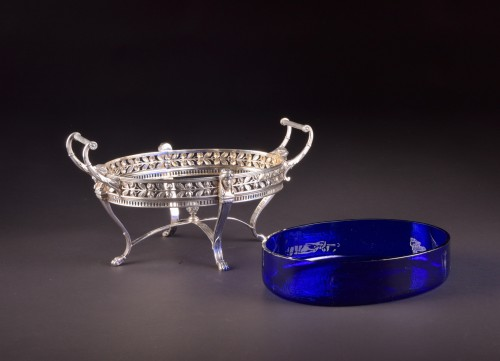 Antiquités - Late19th century 800 Silver Jardiniere, with blue crystal, Germany, stamped