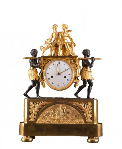 A magnificent Empire mantel clock portraying Paul an Virginie, (1800-1805)