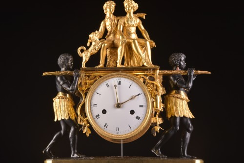 A magnificent Empire mantel clock portraying Paul an Virginie, (1800-1805) -