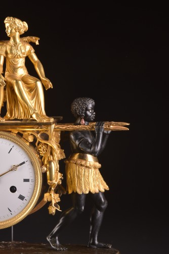 19th century - A magnificent Empire mantel clock portraying Paul an Virginie, (1800-1805)