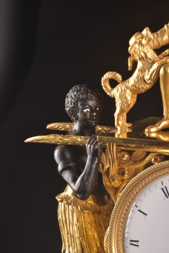 Empire - A magnificent Empire mantel clock portraying Paul an Virginie, (1800-1805)
