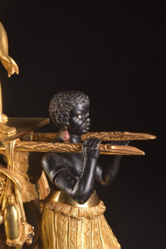 Antiquités - A magnificent Empire mantel clock portraying Paul an Virginie, (1800-1805)